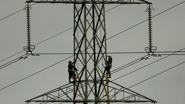 FILE PHOTO: Workers paint an electricity pylon near Lymm, northern England, Britain, February 18, 2015. REUTERS/Phil Noble/File Photo