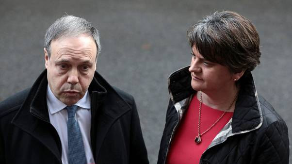 Arlene Foster, leader of the Democratic Unionist Party (DUP), and her deputy Nigel Dodds speak in Downing Street, London, Britain November 21, 2017. REUTERS/Simon Dawson