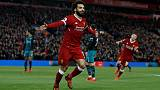 Soccer Football - Premier League - Liverpool vs Southampton - Anfield, Liverpool, Britain - November 18, 2017   Liverpool's Mohamed Salah celebrates scoring their second goal     REUTERS/Phil Noble