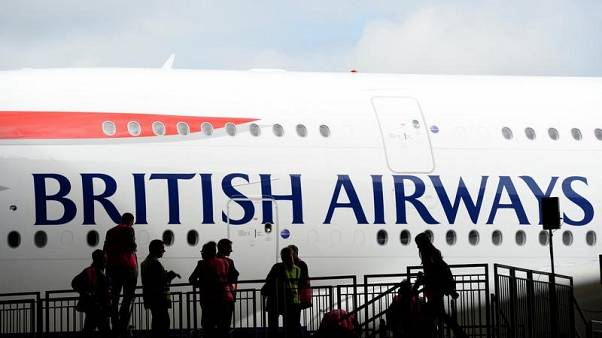 British Airways'  Airbus A380 arrives at a hanger after landing at Heathrow airport in London July 4, 2013.  REUTERS/Paul Hackett/File Photo
