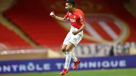 La joie de l'attaquant colombien de Monaco Falcao après son lob somptueux face à Caen en Coupe de le Ligue, le 12 décembre 2017 à Louis-II