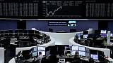 European shares drift into year-end as resources stocks glitter