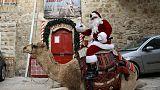 سانتا كلوز يقدم أشجار عيد ميلاد مجانية لسكان القدس