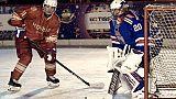 Poutine joue un match de hockey sur glace sur la place Rouge