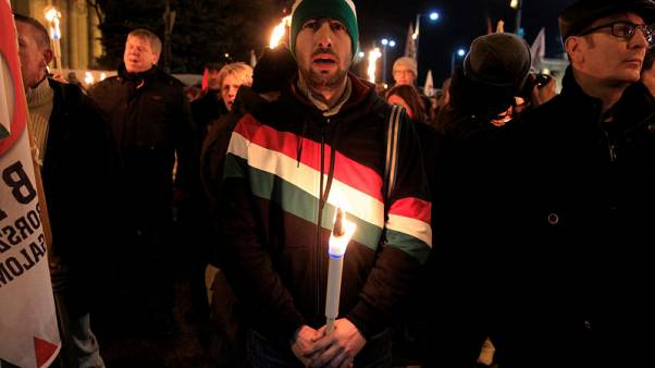 Supporters of Hungarian Jobbik opposition party protest over crackdown