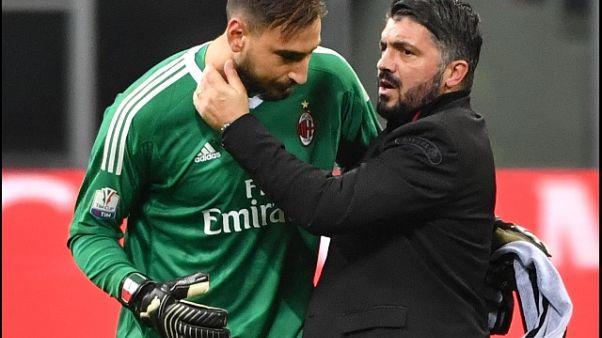 Milan:Gattuso,siamo tutti con Donnarumma