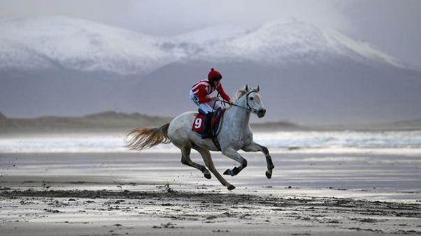 قرية ساحلية بأيرلندا تستضيف سباقات خيول الشاطئ السنوية