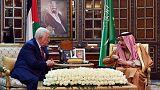 Saudi king receives Palestinian president Abbas