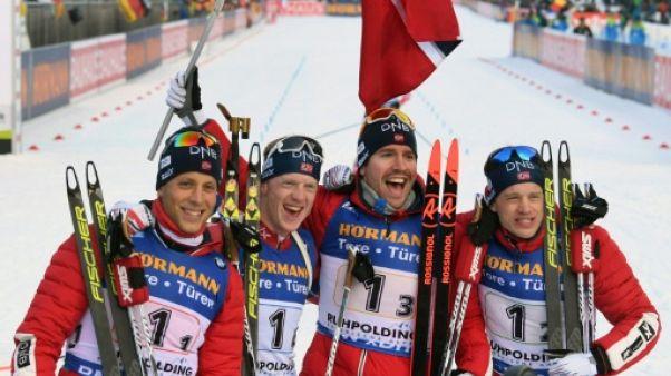 Biathlon: la Norvège prend date avant les JO, la France de Fourcade 2e au relais