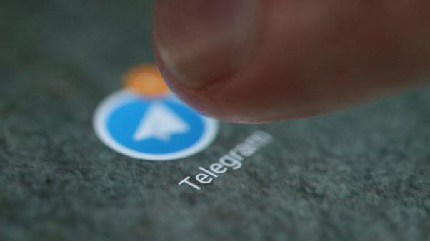 صورة من أرشيف رويترز لشعار تطبيق تلجرام على شاشة هاتف محمول.