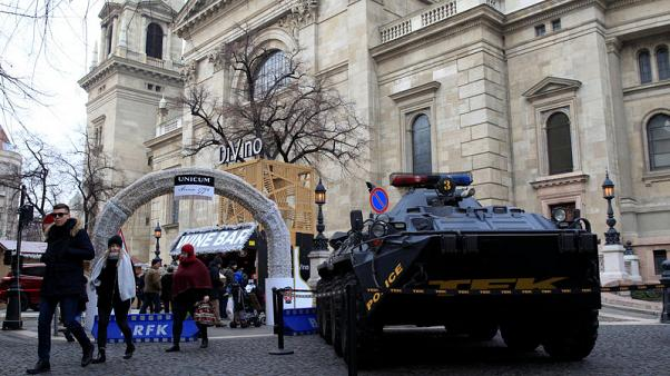 An armoured vehicle of the Hungarian counter-terrorism unit TEK is seen at the entrance of the Christmas market in Budapest, Hungary, December 22, 2017.   REUTERS/Bernadett Szabo