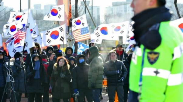 JO-2018: manifestations en marge du premier match de préparation de l'équipe de hockey unie de Corée