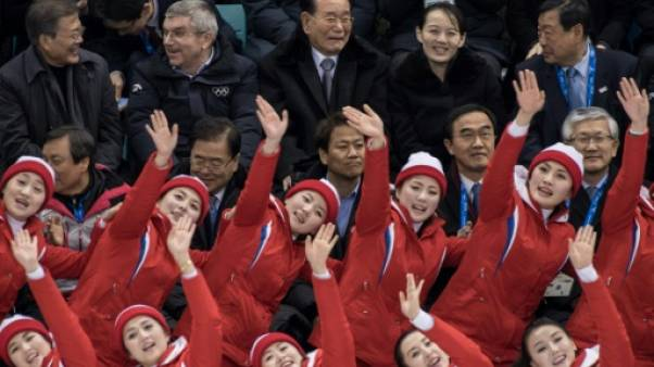 JO-2018 - Les pom-pom girls nord-coréennes assurent l'ambiance