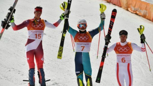 JO-2018: le Suédois Myhrer titré en slalom, les Français au pied du podium