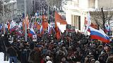 Thousands rally in Moscow to commemorate slain opposition leader before election