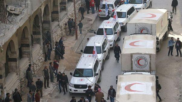 شاهد: قافلة إغاثة تبدأ مغادرة الغوطة الشرقية بسوريا