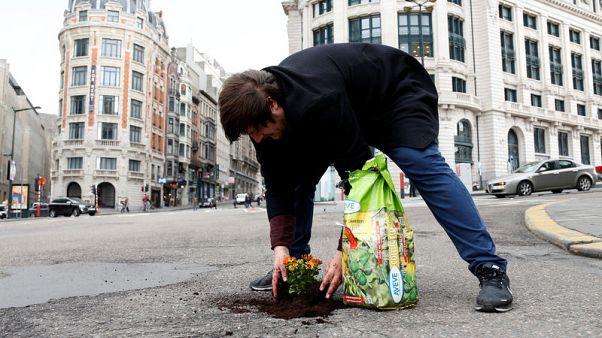 زرع الزهور.. وسيلة احتجاج على حفر الشوارع في بروكسل