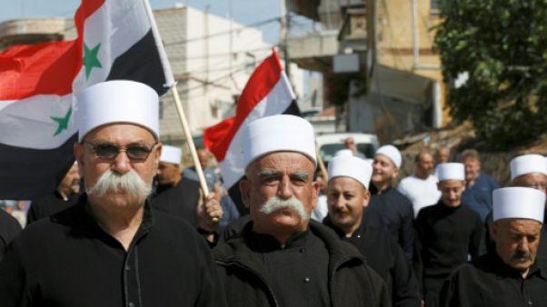 Manifestation de druzes pro-Assad sur le Golan occupé par Israël