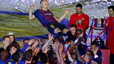 Champions Barca bid Iniesta farewell after beating Sociedad