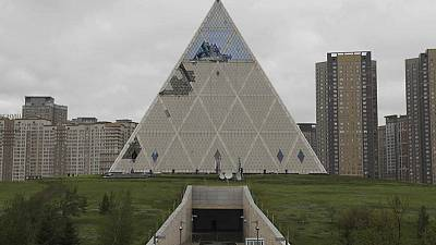 Gales damage peace pyramid in Kazakh capital