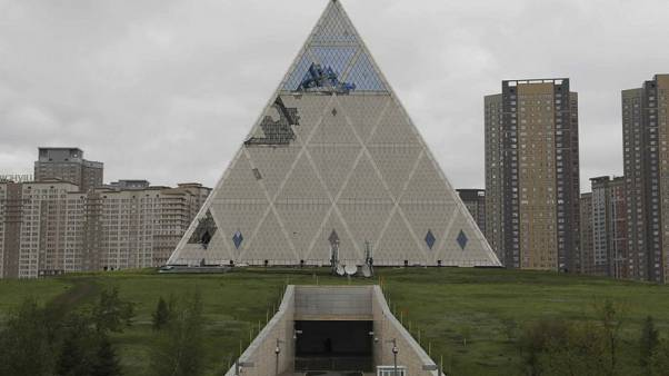 Gales damage peace pyramid in Kazakh capital