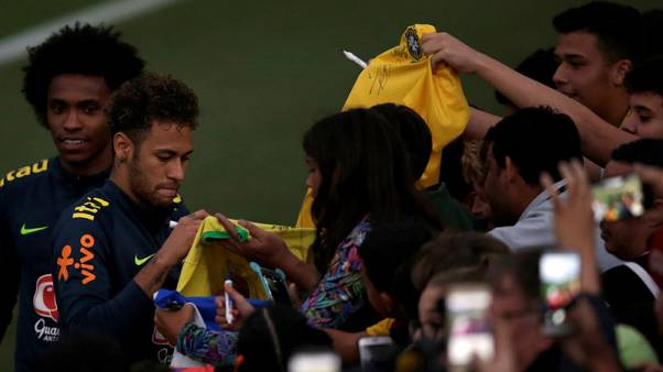 Fans invade training ground to watch Brazil train