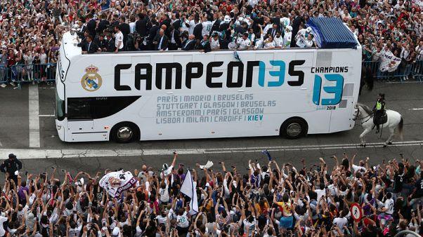 ريال يحتفل بلقب دوري الأبطال في شوارع مدريد