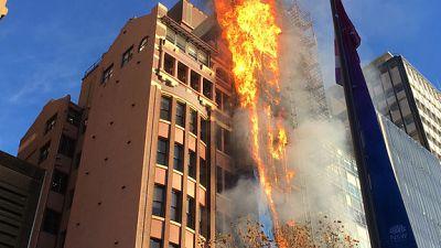 Spectacular blaze engulfs office building in Australia's Sydney