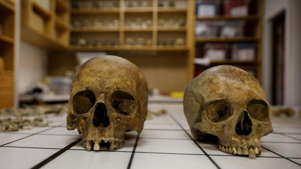 Serbian archaeologists find sarcophagus with two skeletons and jewellery in ancient city