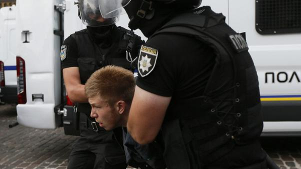 Kiev police detain far-right protesters against gay pride march