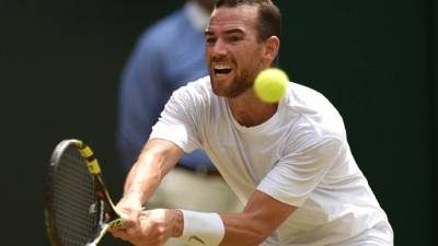 Français Adrian Mannarino à Wimbledon, le 9 juillet 2018