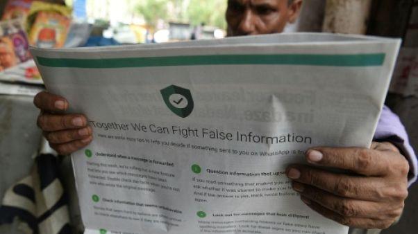 Inde : WhatsApp tente de circonscrire les fausses nouvelles meurtrières