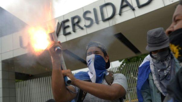 Des étudiants tirent un mortier le 23 juillet 2018 à Managua