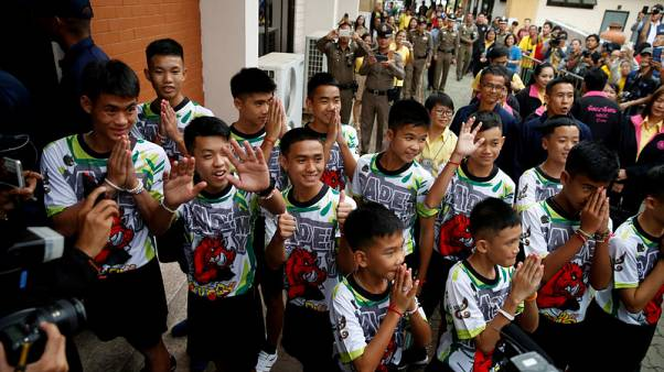 Candles and chanting: Thai cave boys begin ceremony to become Buddhist novices