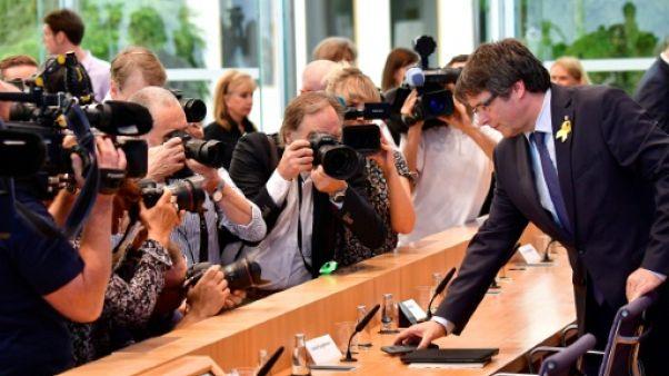 Carles Puigdemont à une conférence de presse à Berlin le 25 juillet 2018