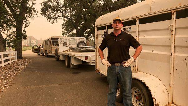 جندي أمريكي متقاعد ينقذ الخيول من حرائق كاليفورنيا المستعرة