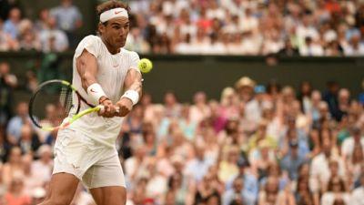 L'Espagnol Rafaen Nadal lors de Wimbledon, le 14 juillet 2018