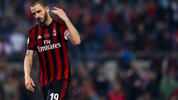 Bonucci lascia Milan, domani a Torino