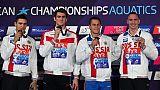 Euro de natation: les Russes titrés en 4x100 m messieurs