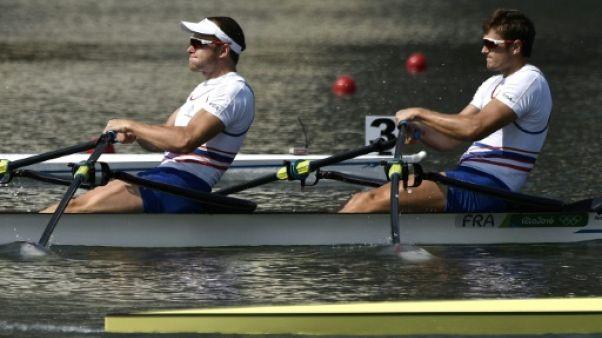 Hugo Boucheron et Matthieu Androdias (g) lors des JO de Rioi le 9 août 2016