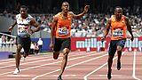 Le Britannique  Zharnel Hughes (c) sur 100 m à Londres, le 21 juillet 2018