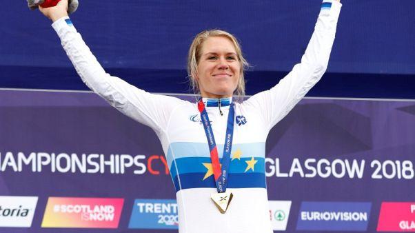 Cycling - Van Dijk wins hat-trick of European time trial titles