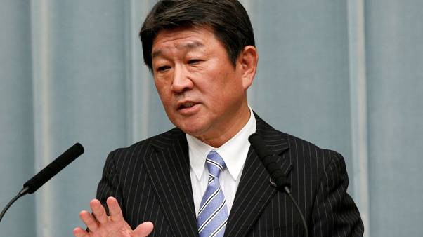 Japan's Motegi: Japan, U.S. will continue trade talks, meet in Sept