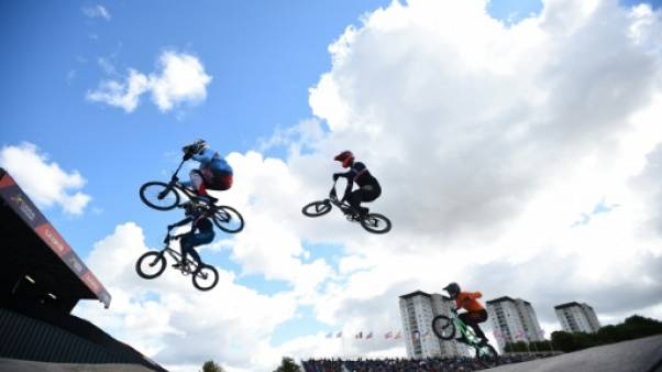 Qualifications du BMX, aux Championnats d'Europe à Glasgow, le 10 août 2018