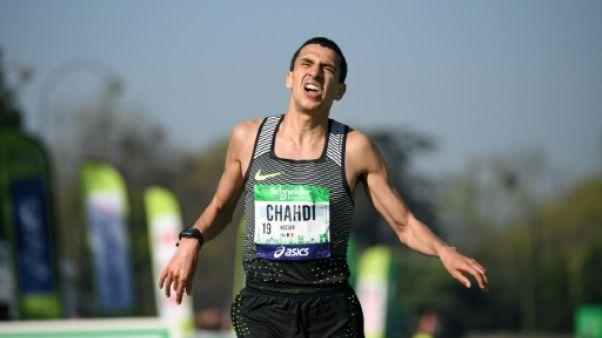 Le Français Hassan Chahdli lors du Marathon de Paris, le 9 avril 2017