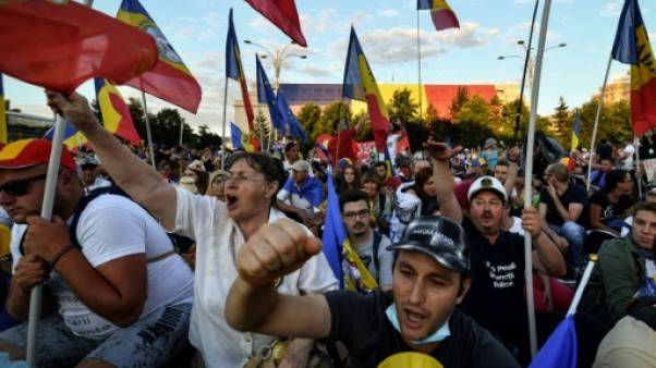 Manifestation antigouvernementale à Bucarest, en Roumanie, le 11 août 2018
