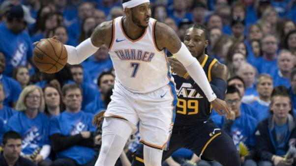 Carmelo Anthony joueur d'Oklahoma City le 15 avril 2018 face à l'Utah Jazz