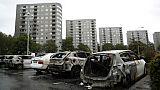 Des voitures brûlées à Göteborg, dans l'ouest de la Suède, le 14 août 2018
