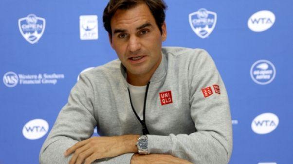 Roger Federer en conférence de presse le 13 août 2018 à Mason dans l'Ohio