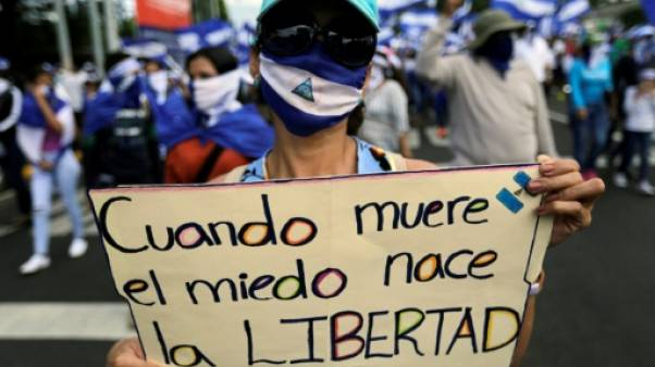 Manifestant anti-gouvernemental à Managua le samedi 18 août 2018 à Managua.